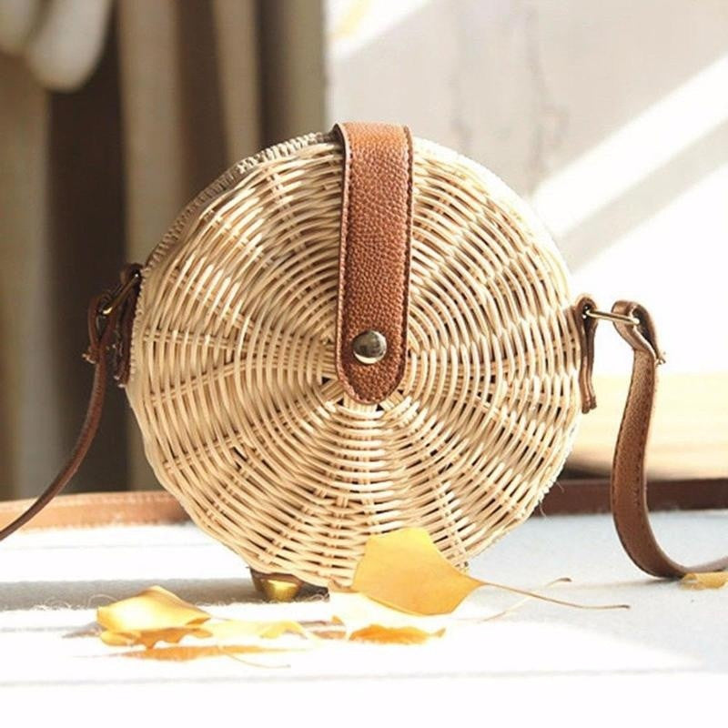 rattan side bag bamboo side bag boho bag