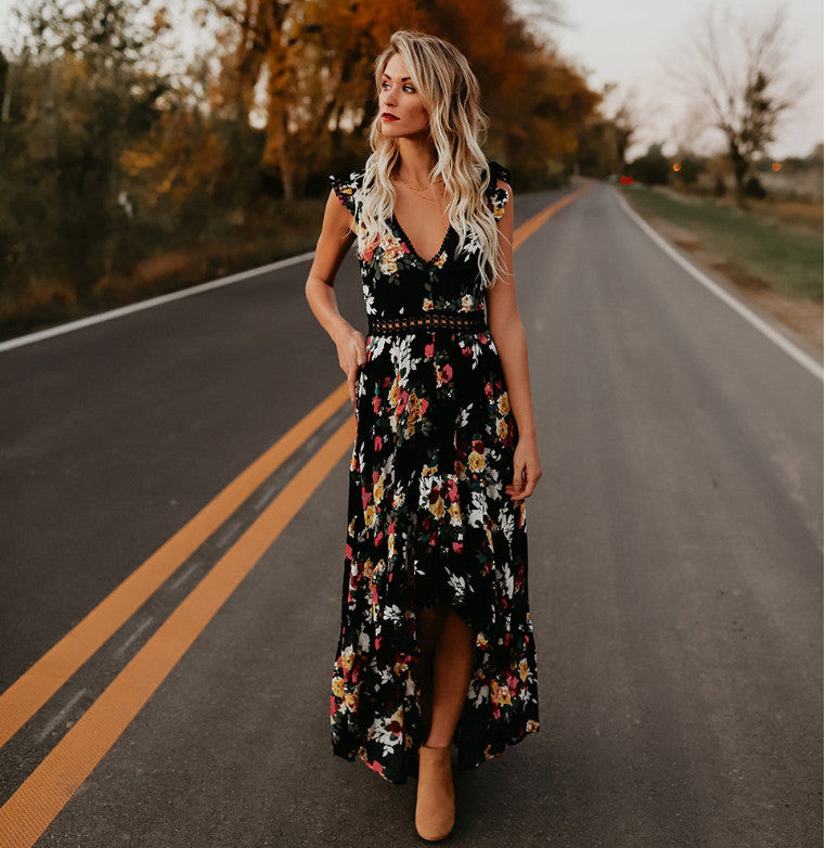 Backless Floral Maxi Dress
