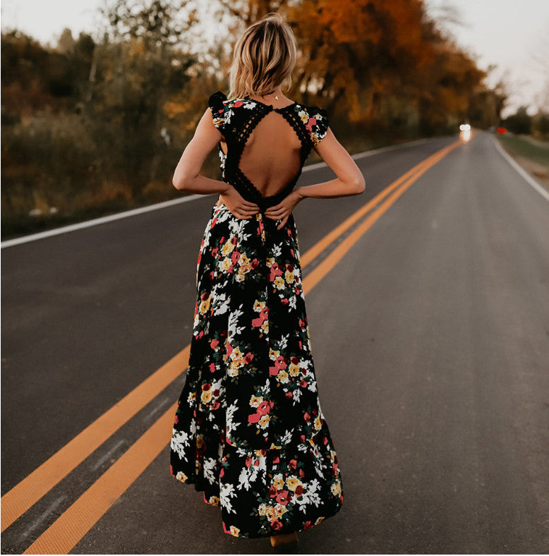 backless floral maxi dress. boho dress. black boho dress