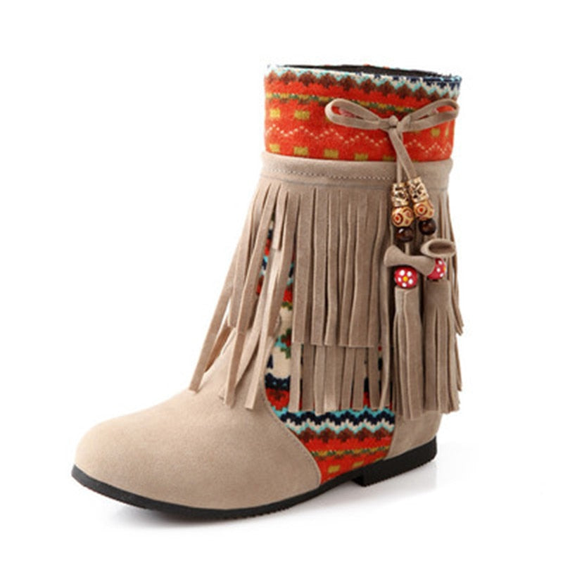 Tan Boho boots. Ethnic Print Ankle Boots