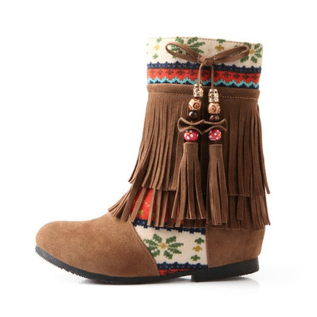 Boho boots. Ethnic Print Ankle Boots