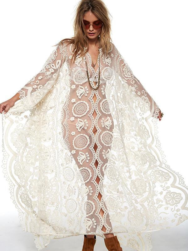 white lace beach throw on . boho kimono, white lace boho dress , cream lace boho dress , cream lace boho slip