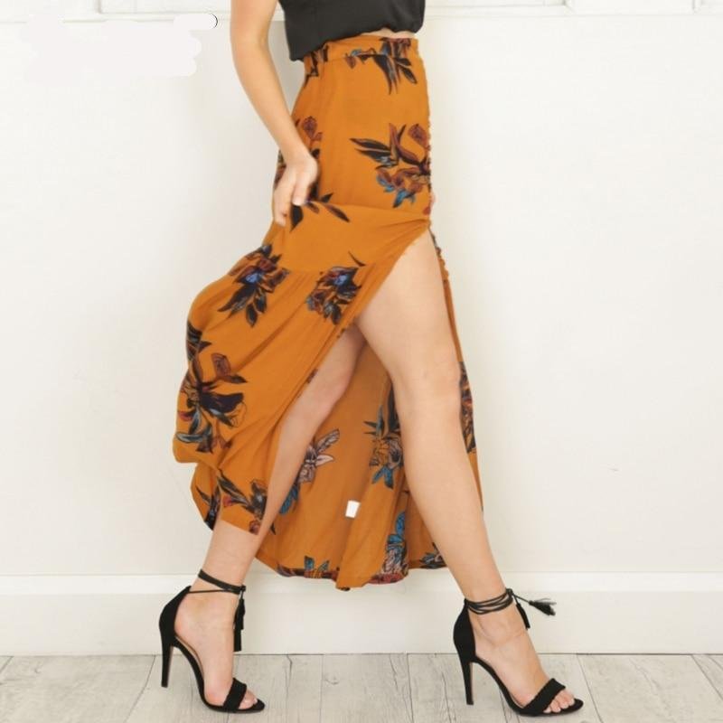 floral high split maxi skirt