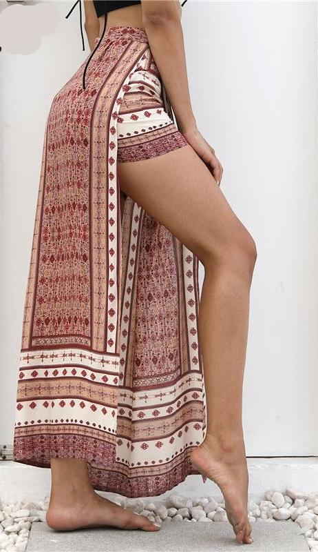 high split pants boho