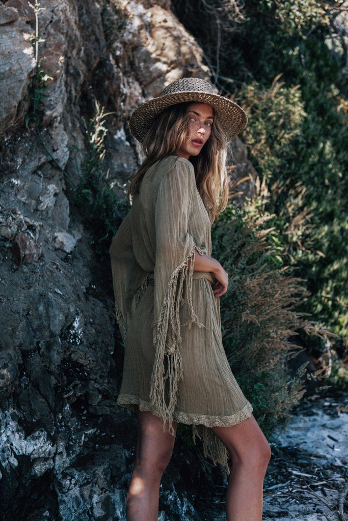 Tasseled boho olive Dress