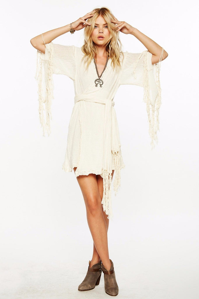 Tasseled white boho Kimono Dress