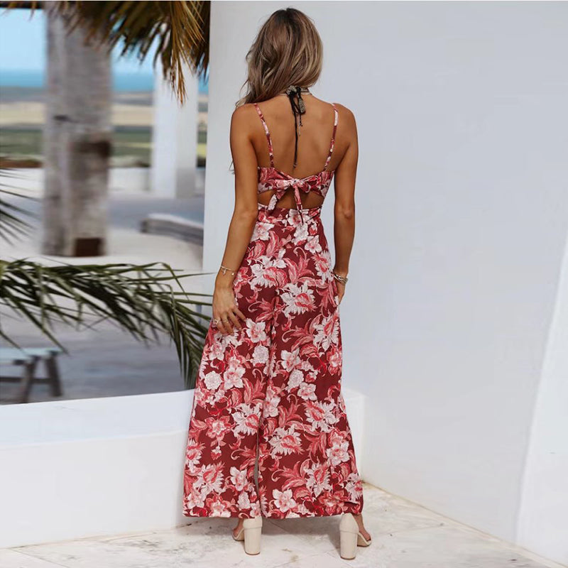 Chiffon Summer Backless Jumpsuit