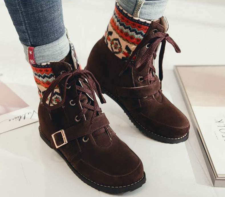 Boho Ethnic Lace up Boots - Brown