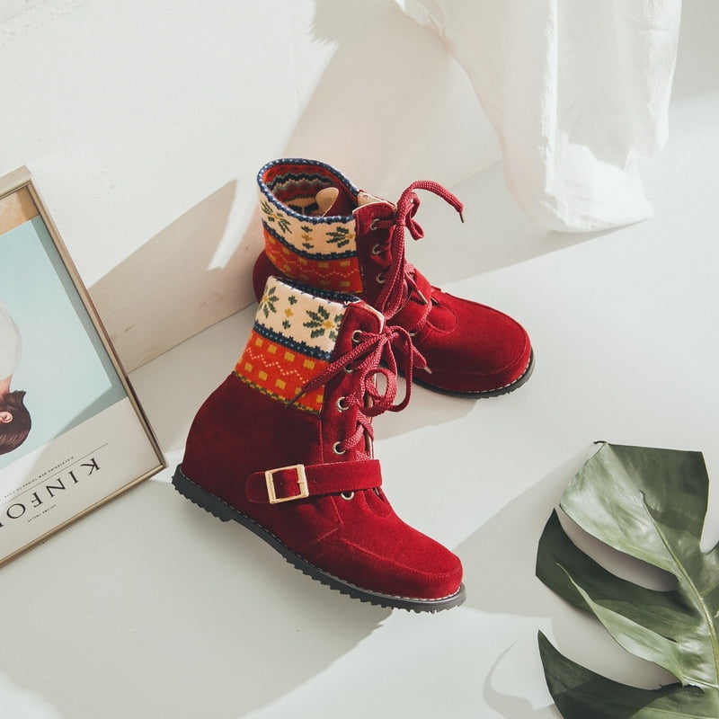 Boho Ethnic Lace up Boots -  Red