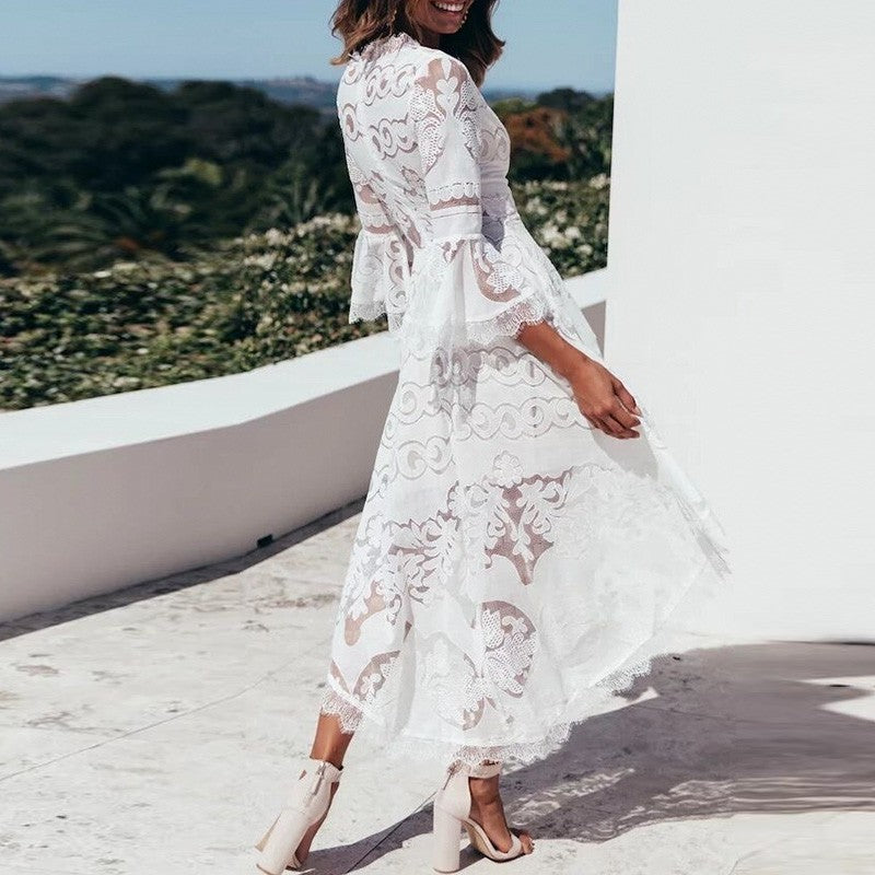 Flare Sleeve white lace dress