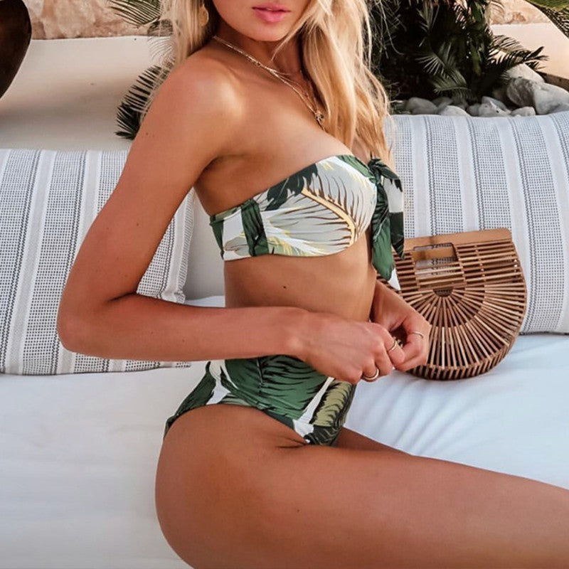Bandeau high waist bikini set
