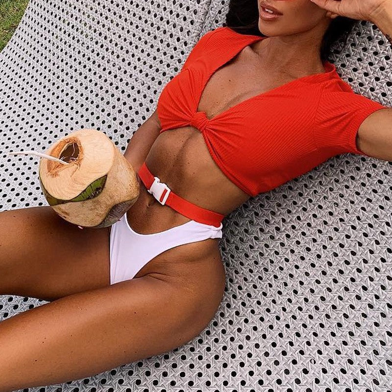 orange and white buckle bikini