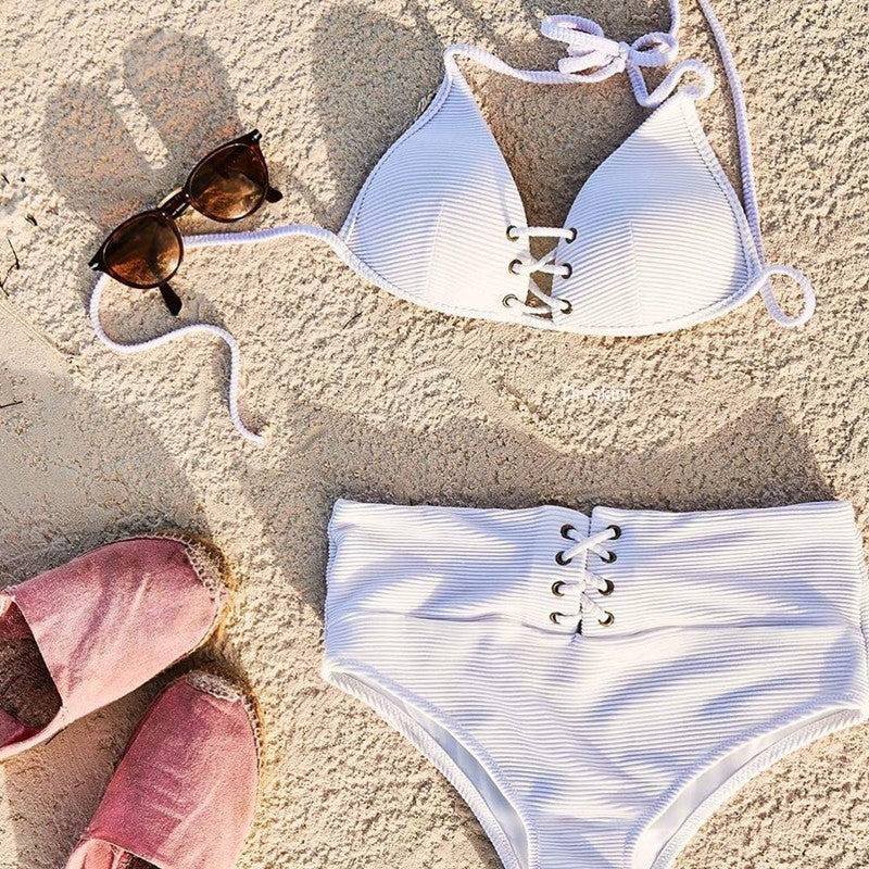 high waist white swimsuit
