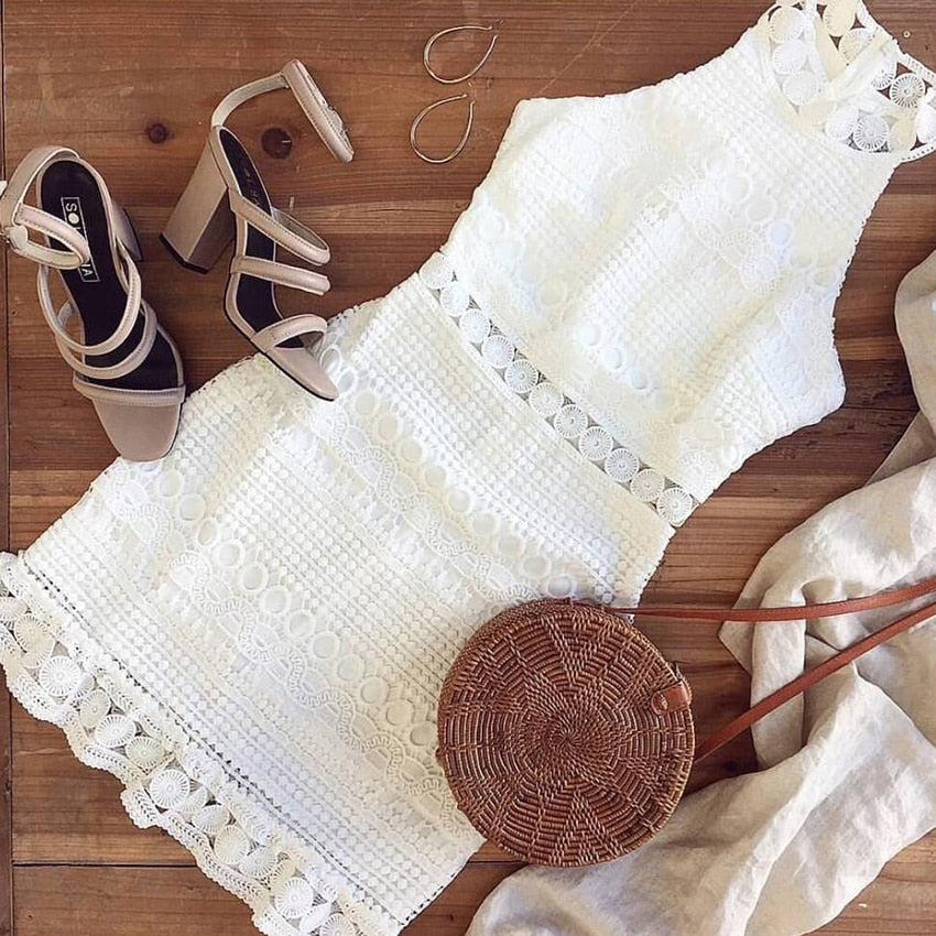 white high neck boho dress, white boho dress