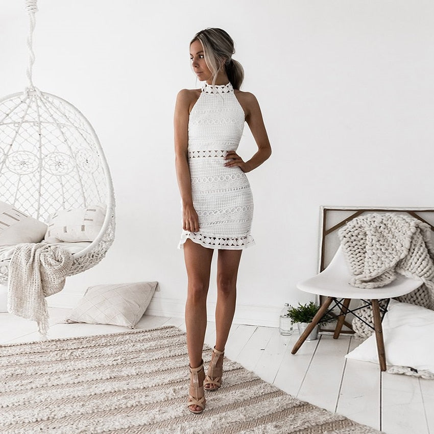 white boho lace dress