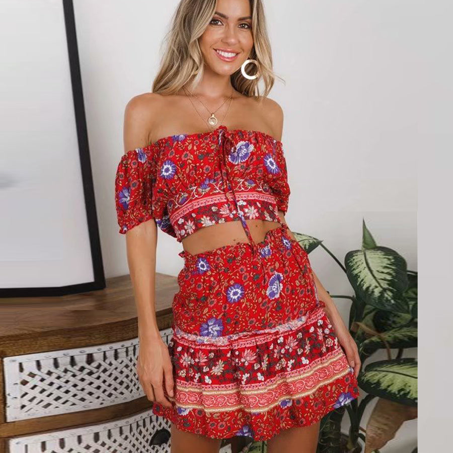 red 2 piece skirt and top boho outfit