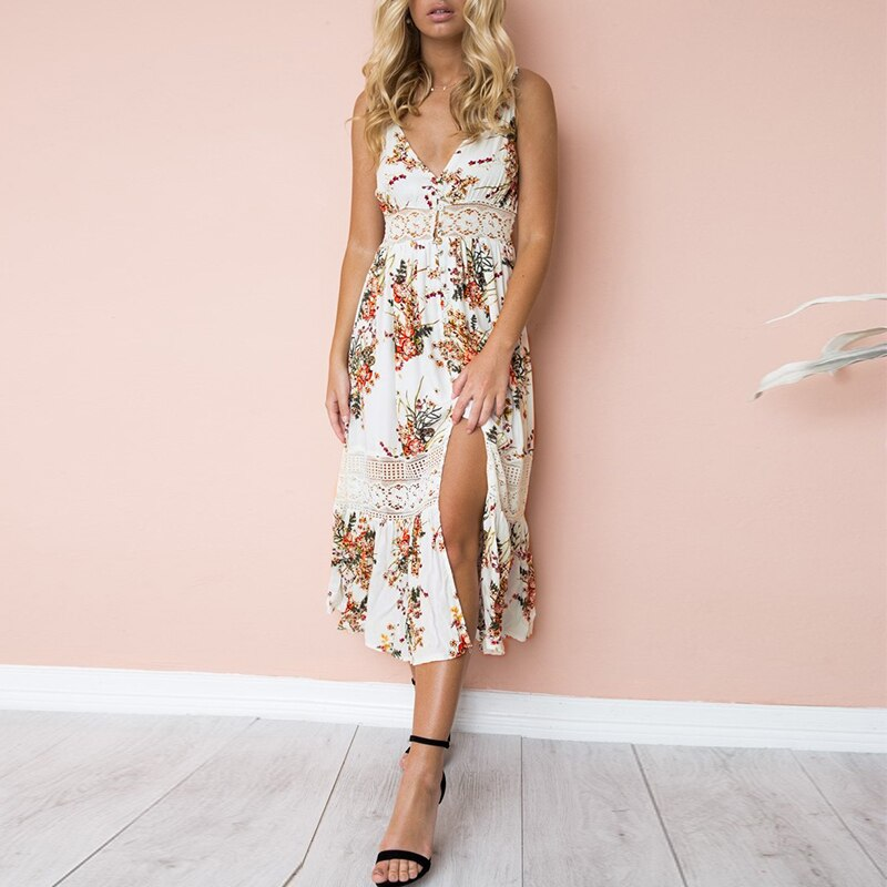 White Lace Boho Floral Dress , lace white dress , white foral lace boho maxi dress