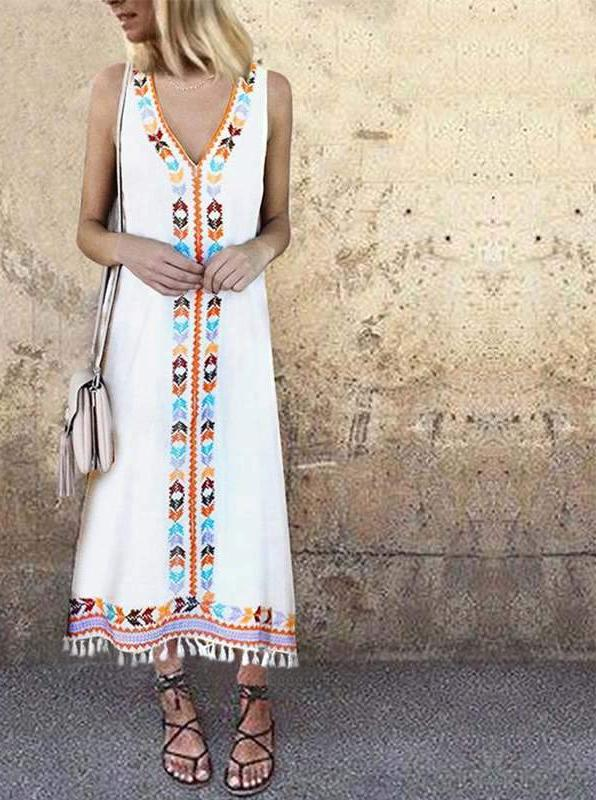 Boho throw dress with Tassels