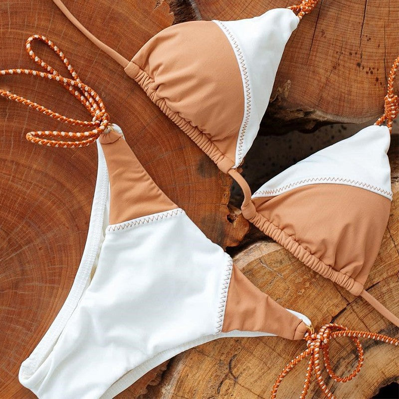 tan and white boho bikini