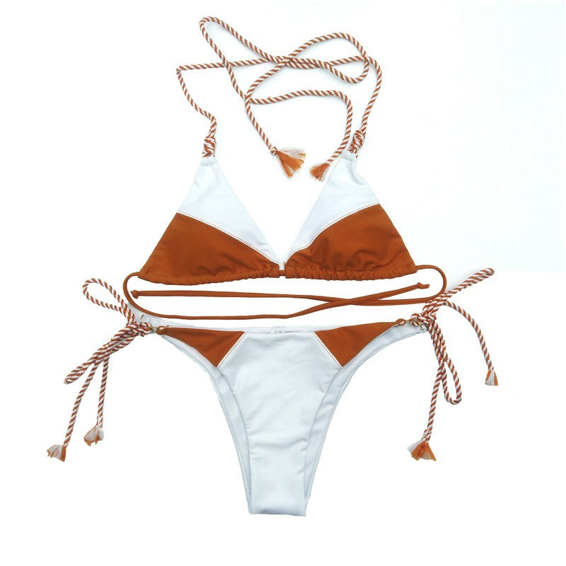 tan bikini set with white bottoms