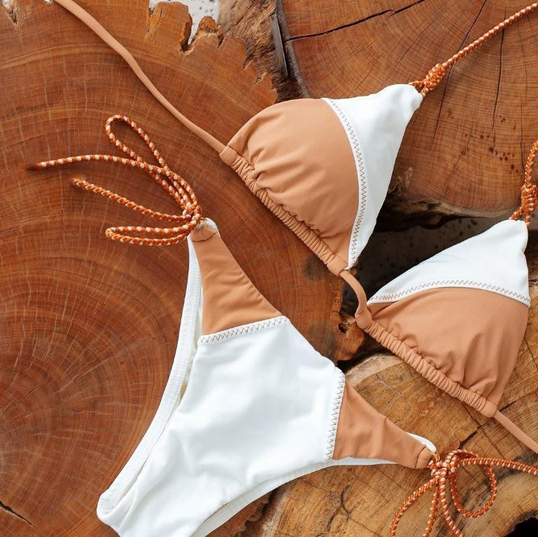 Orange and white Triangle bikinis