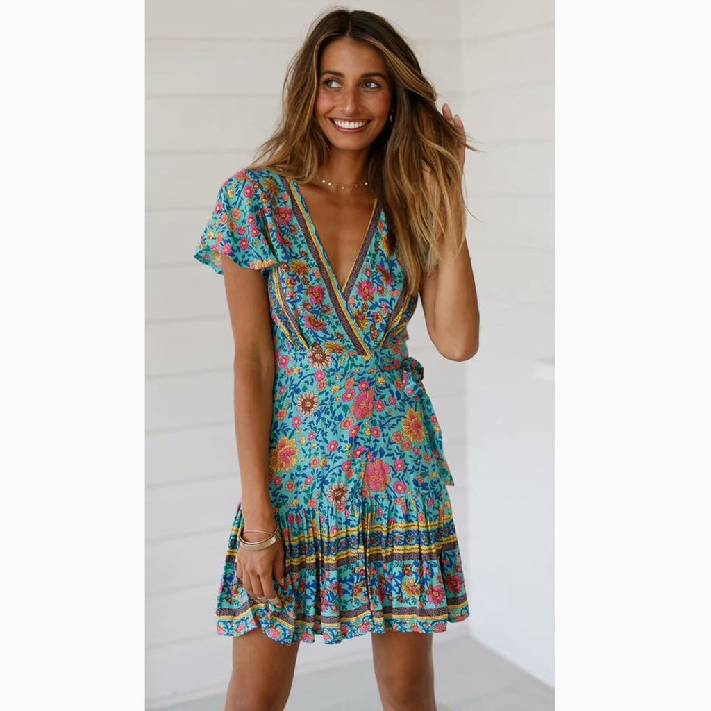 boho mini dress turquoise blue
