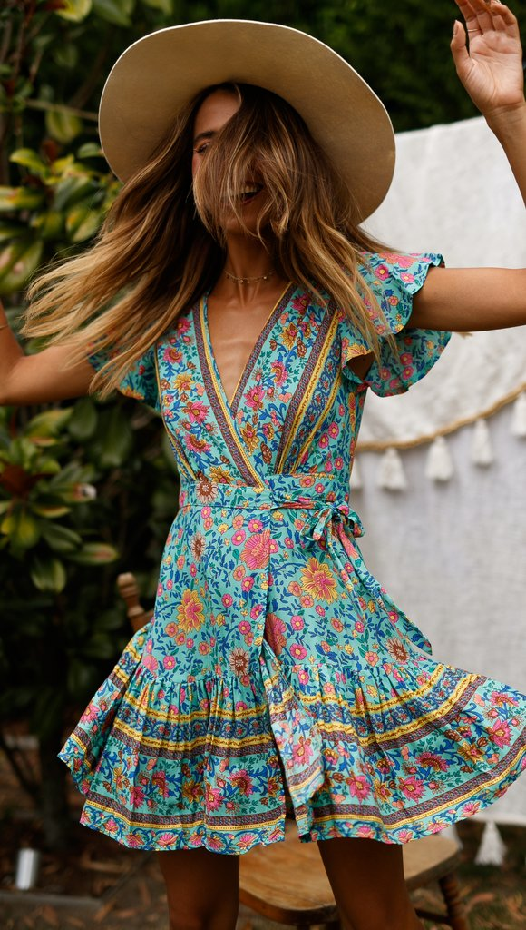 Multi Printed Ruffle Mini Dress