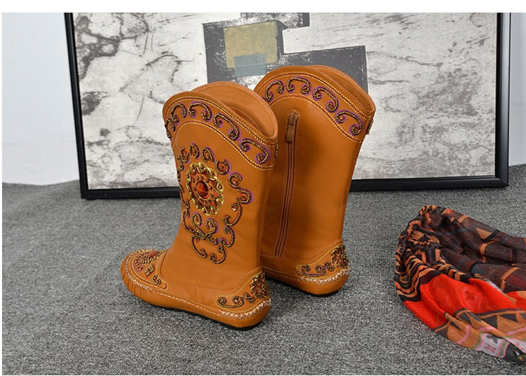 Mid-Calf Leather Embroidered Boots