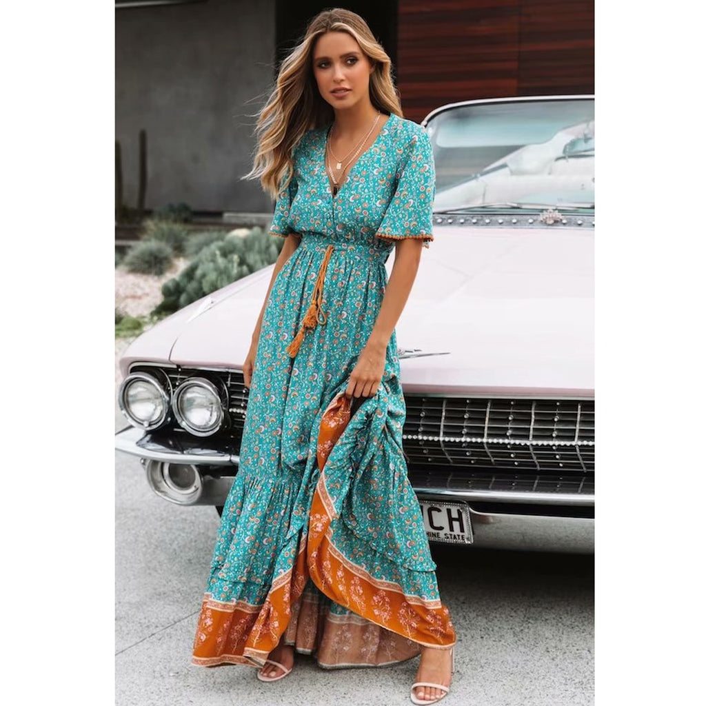 blue and orange maxi dress