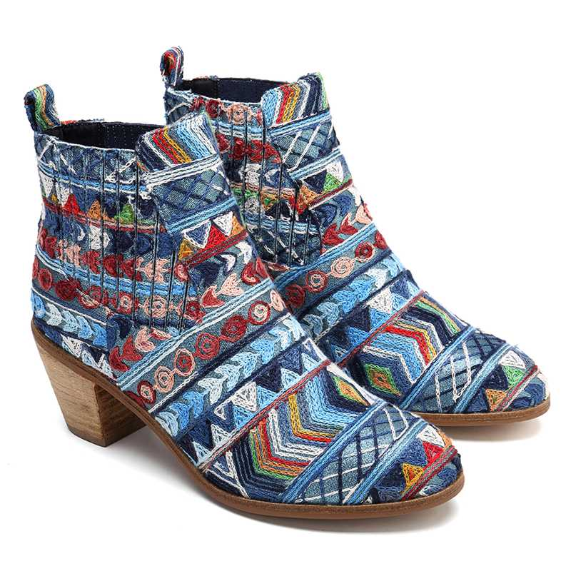 Retro Boho Weave Cloth Boots
