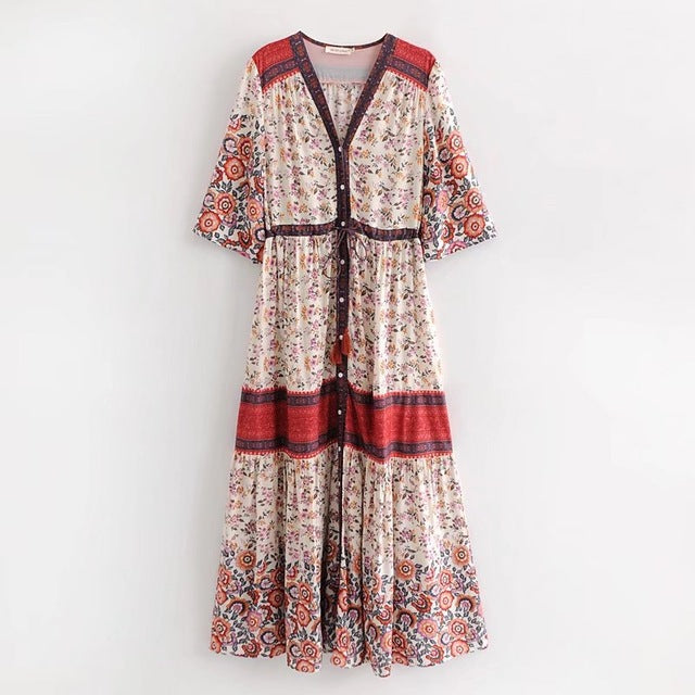 Floral Print Button  Vintage Dress
