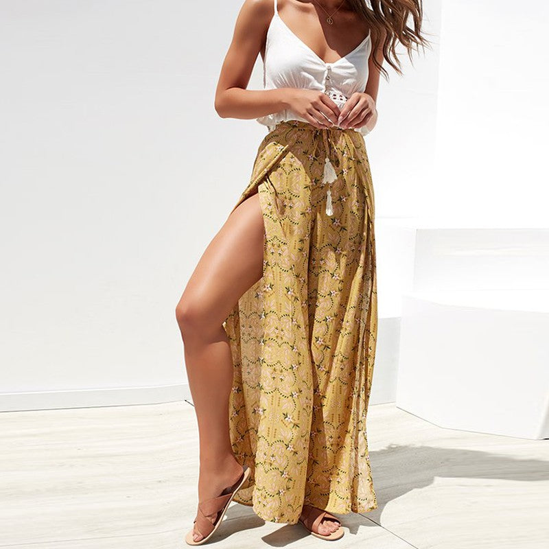 boho split wide leg pants