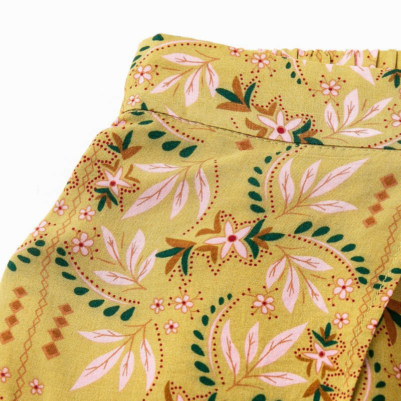 High Waist Vintage Split Floral Pants