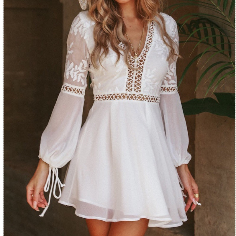 white boho dress , white flare sleeve dress, white backless dress, white puff sleeve dress