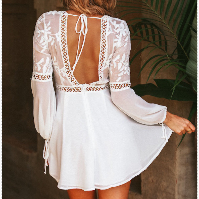 white flare sleeve dress, white backless dress, white puff sleeve dress, backless boho dress