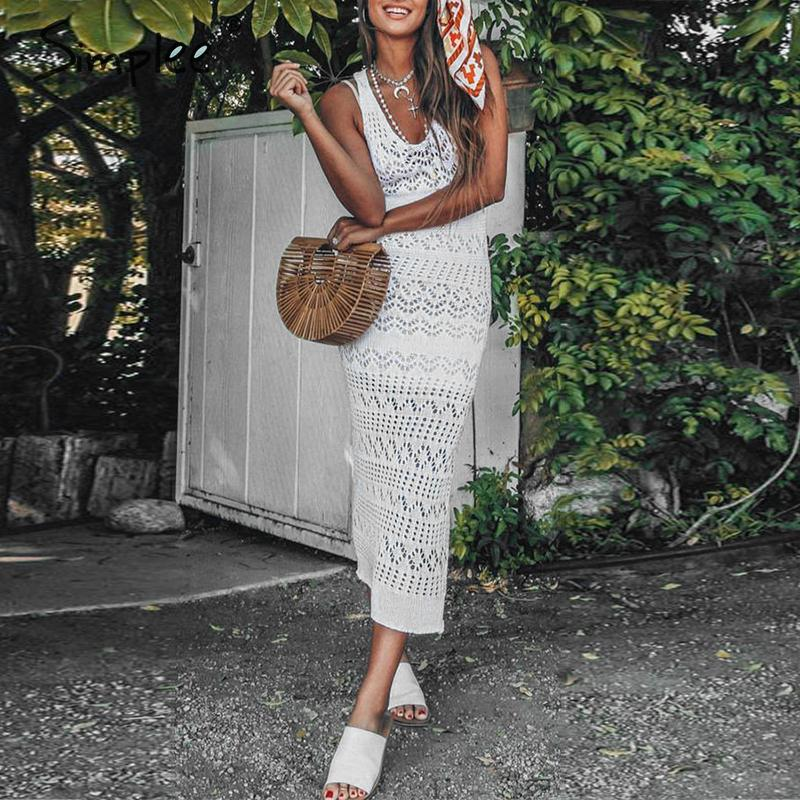 White Long boho Crochet Dress