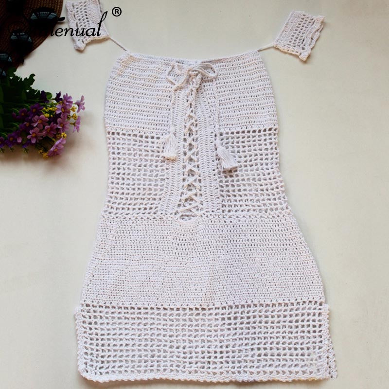 Off Shoulder Tassel Crochet Sundress white