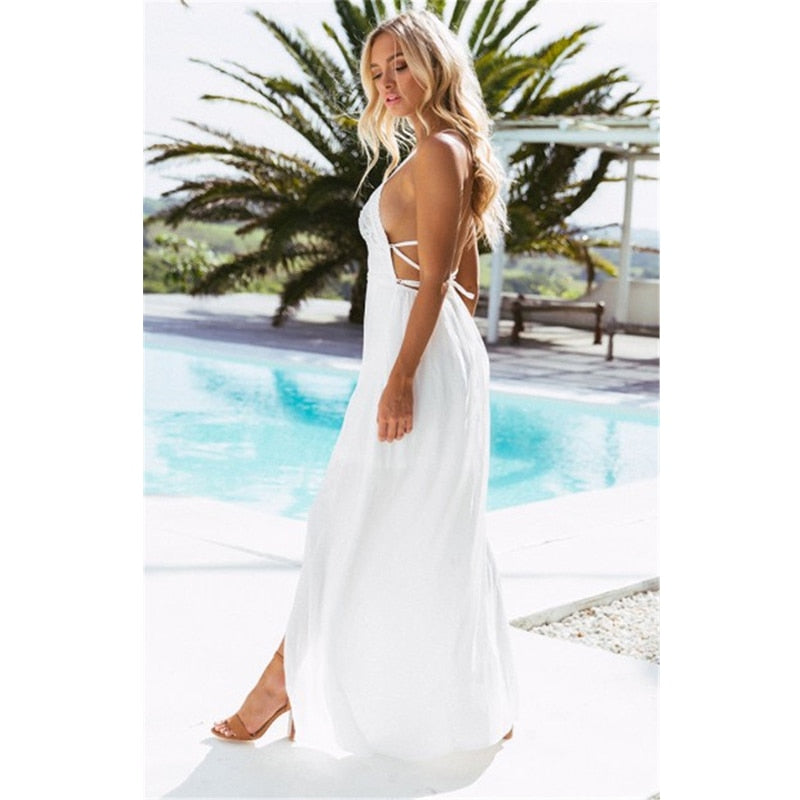 Backless Halter V Neck Maxi Beach