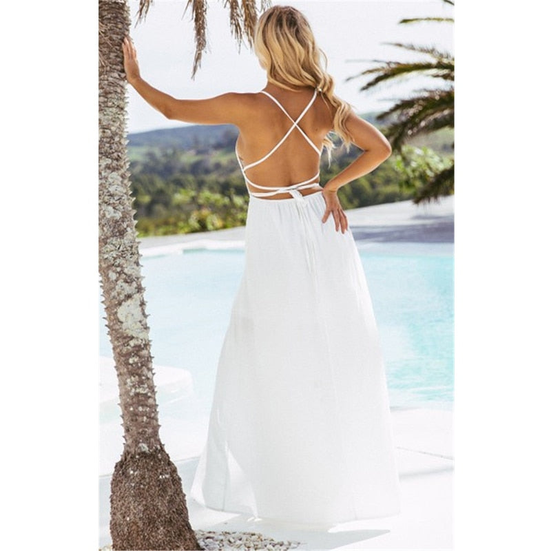 white boho dress , backless maxi dress