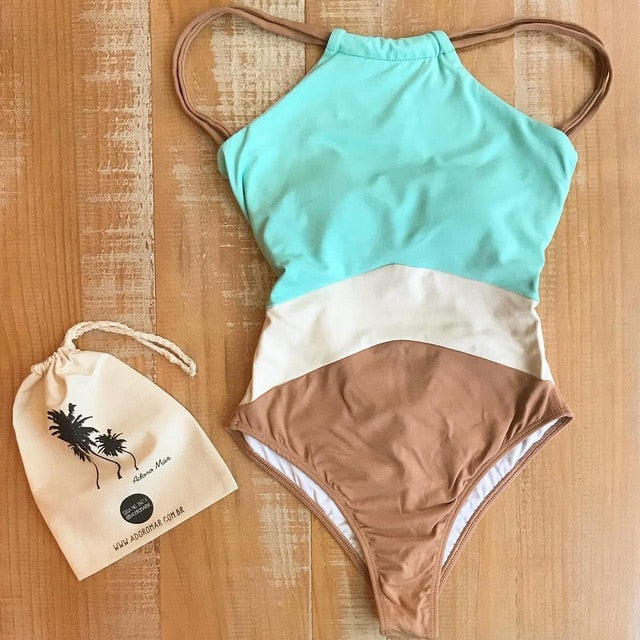 one peice swimwear ,  one piece swimsuit , one piece bathers with high neck