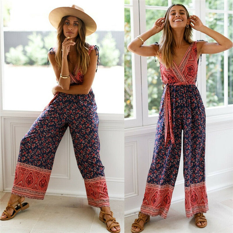 boho backless jumpsuit romper