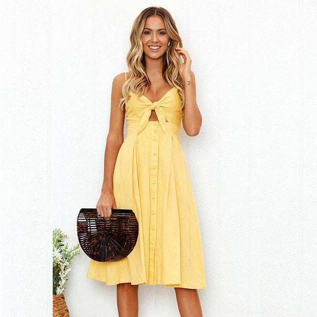 Backless Hollow out Buttoned Dresses -love that boho