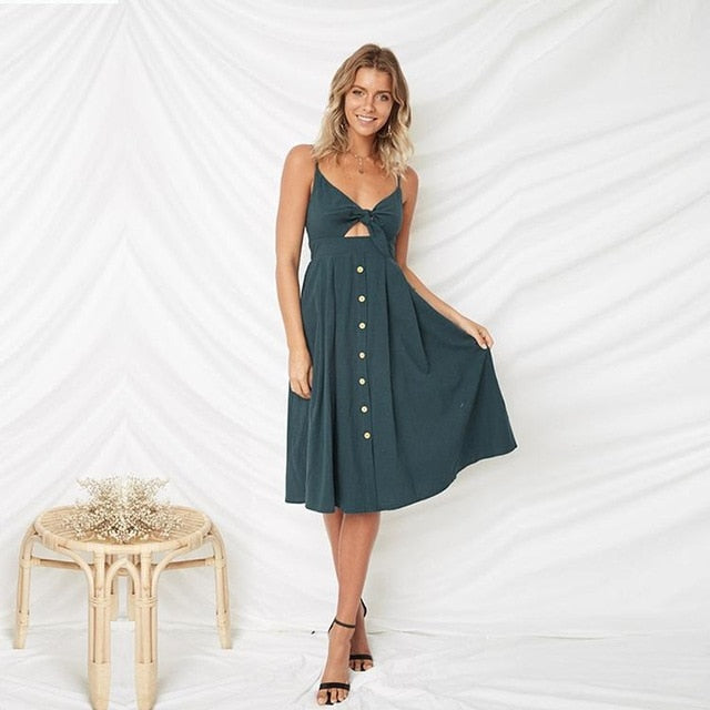 Backless Hollow out Buttoned Dresses - love that boho
