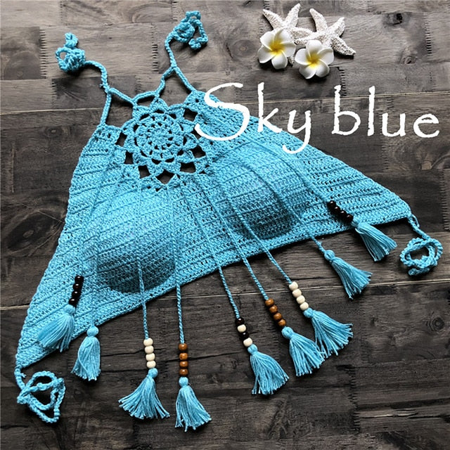 blue crochet crop top with tassels