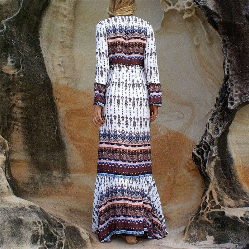 white and brown long sleeve maxi boho dress