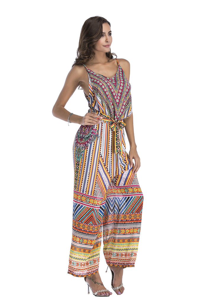 Mixed Print Wide leg Jumpsuit