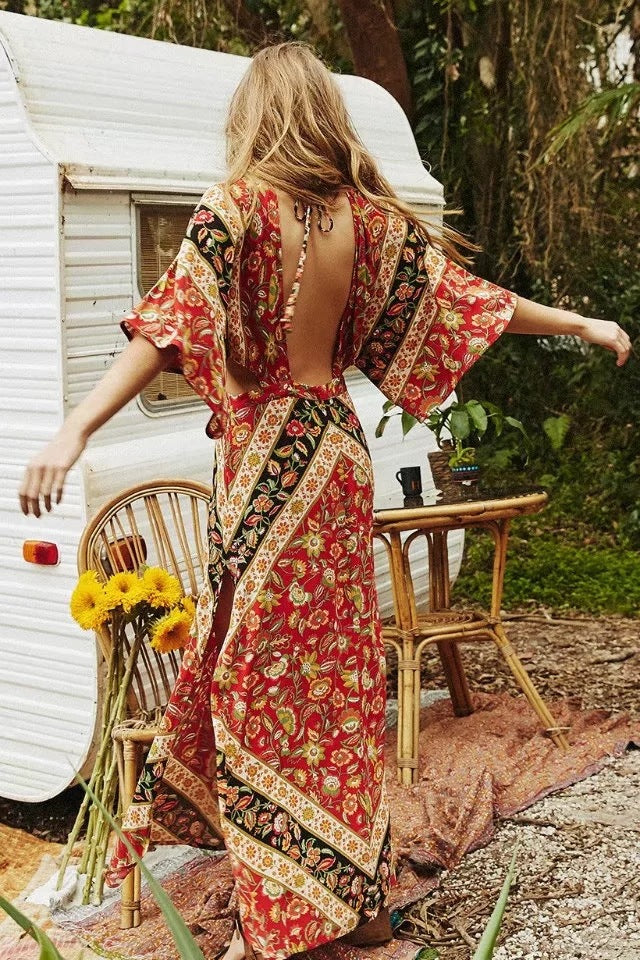 Backless chic boho flare dress. boho dress. boho dresses. backless maxi dress. boho maxi dress. boho red dress