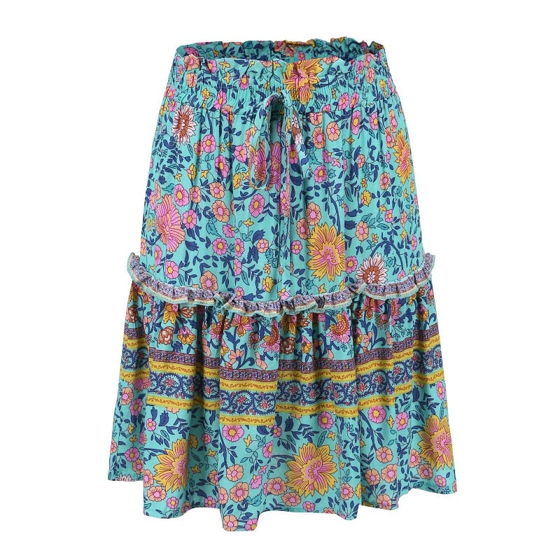 Boho Print Blue Mini skirt