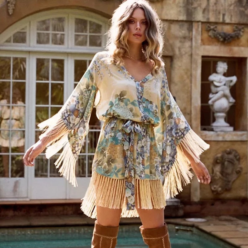 tasseled kimono dress. tasseled dress, boho tassel dress , booho tasseled kimono dress , boho dress , boho dresses , tassel dress