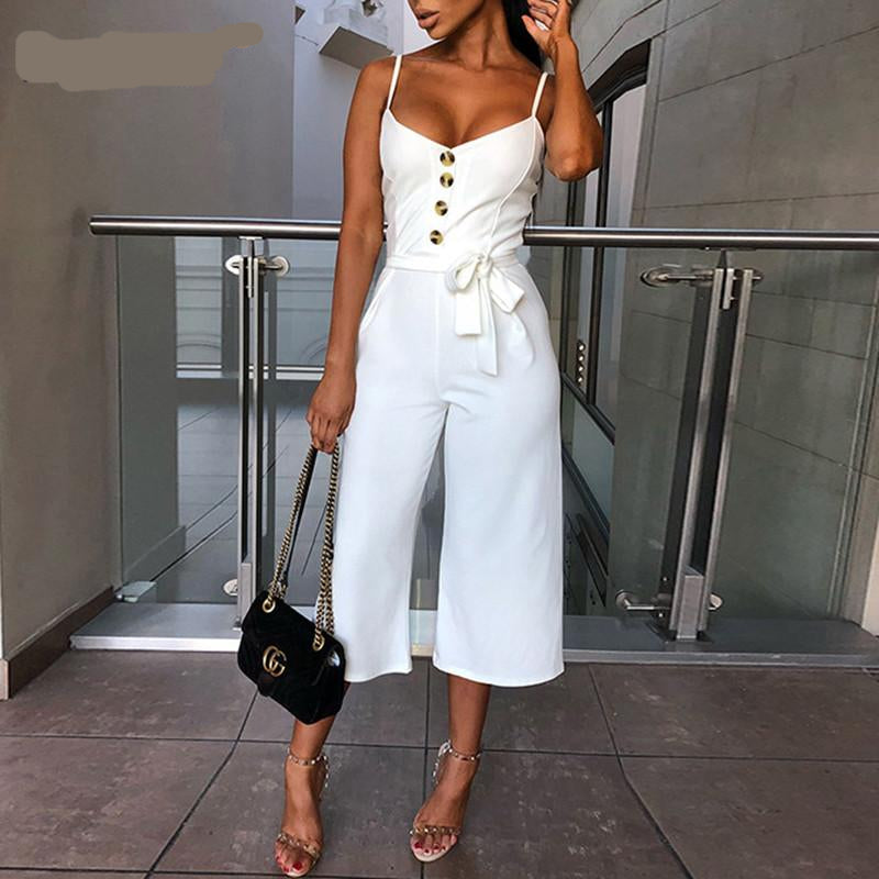 white jumpsuit / white jumpsuit with buttons / White boho Jumpsuit
